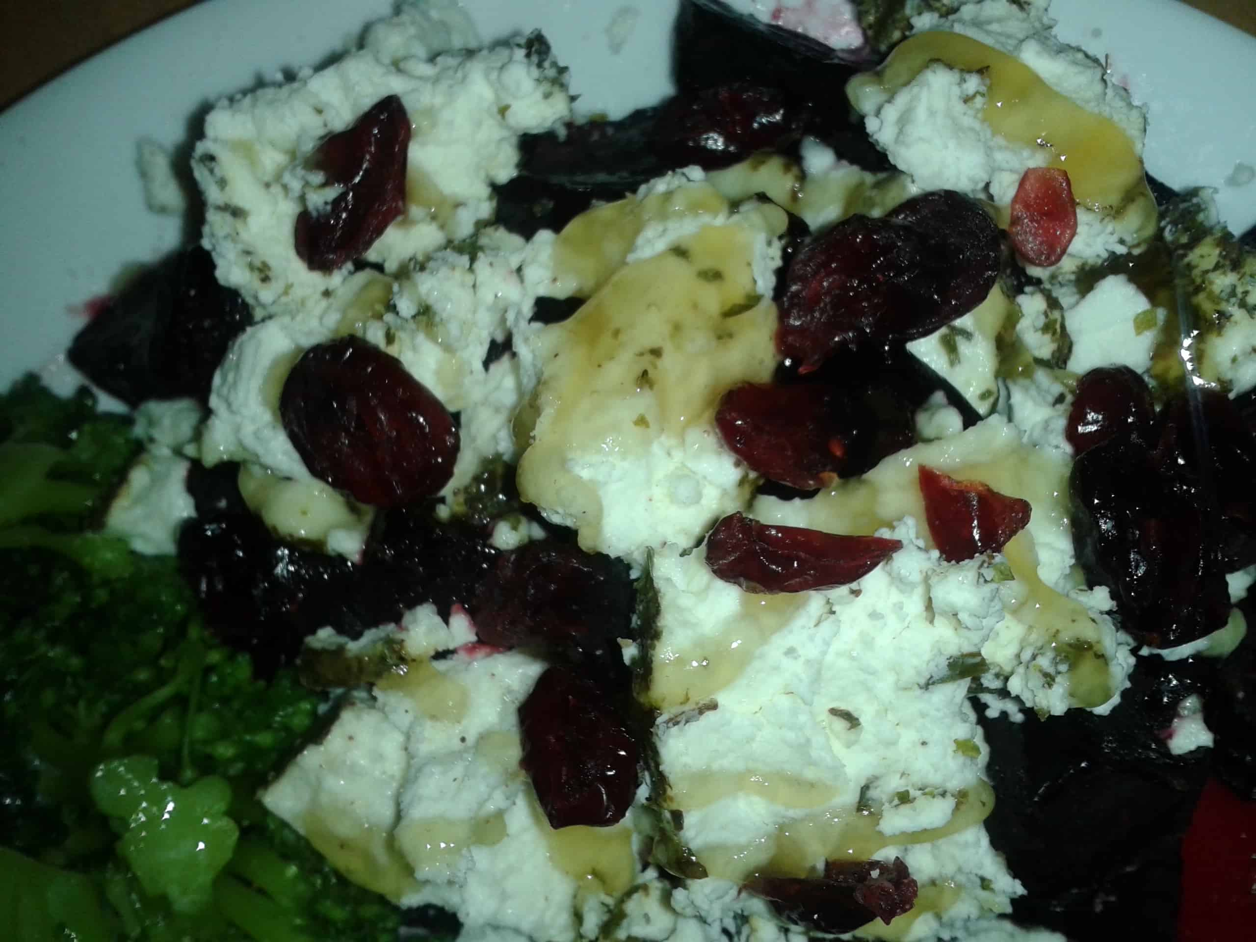 Baked Beets topped with Goat Cheese, Honey and Sunflower Seeds